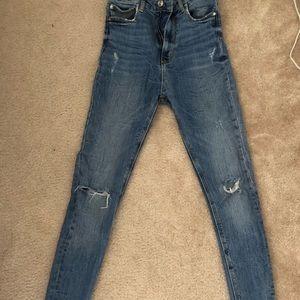 Zara Distressed Skinny Jeans with Raw Hem
